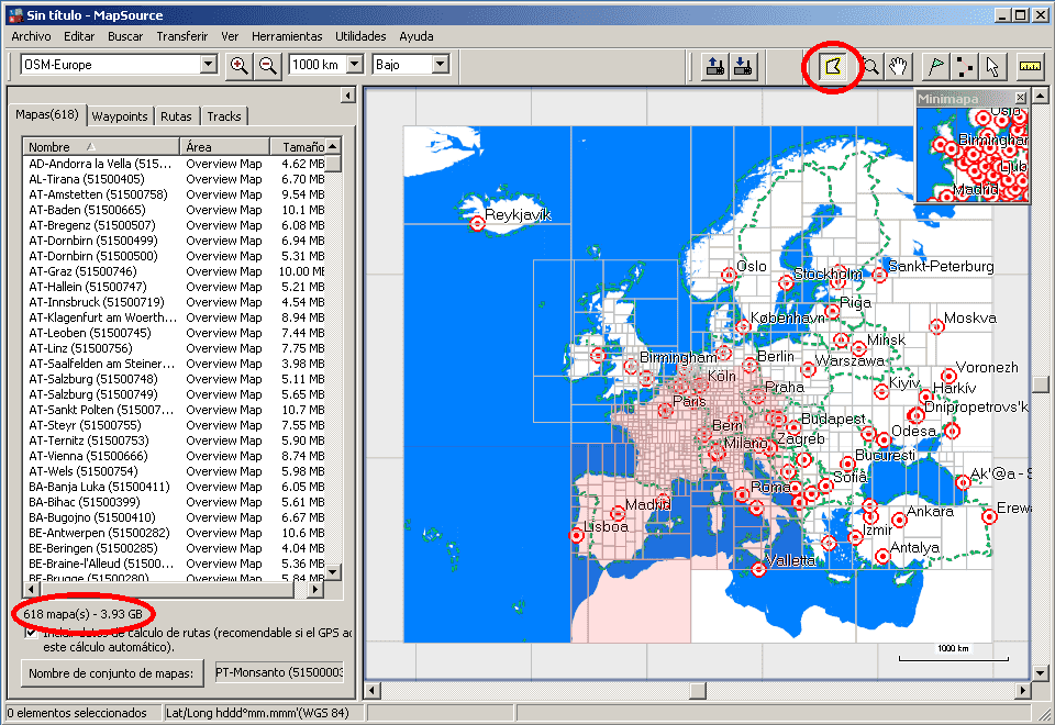 Select tiles MapSource